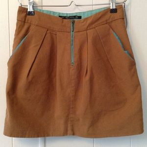 Zara TRF Collection Mini Skirt Camel and Teal
